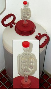 An airlock on a container, water is put in the top to create a one way escape for gas in the container.