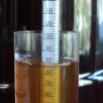 A hydrometer testing alcohol content